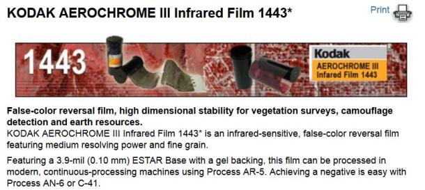Kodak Aerochrome III Infrared Film 1443