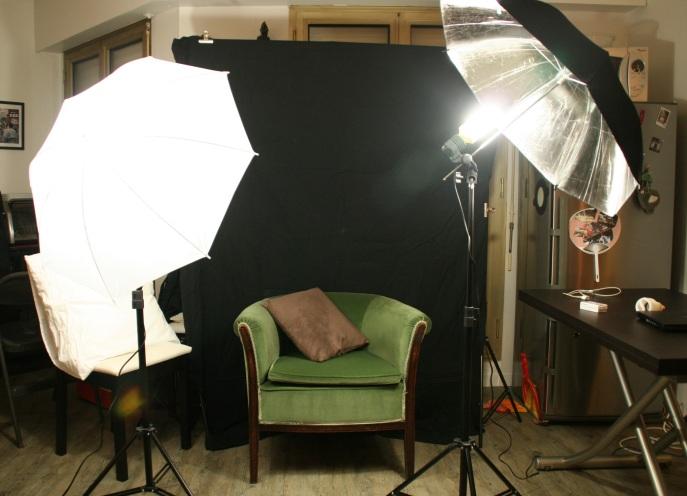 éclairage continu avec fond de studio noir